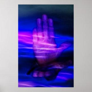 Poster Mains curatives avec de l'énergie