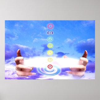 Poster Mains curatives, énergie, symboles de chakra, bleu