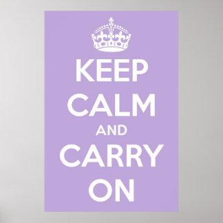 Poster Maintenez calme et continuez l'affiche de lavande