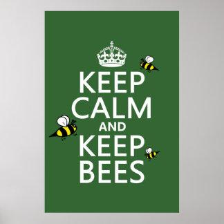 Poster Maintenez calme et gardez les abeilles - toutes
