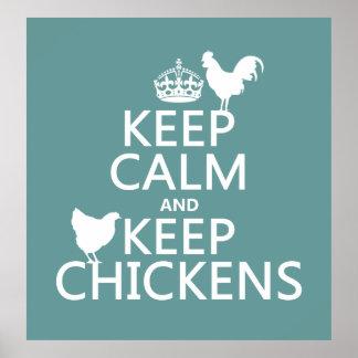 Poster Maintenez calme et gardez les poulets (toute