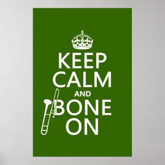 Poster Maintenez calme et 'os sur (trombone - toute