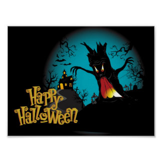Poster Maison hantée par Halloween effrayante avec