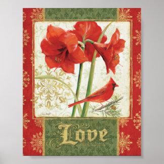 Poster Maison pour l'amour d'amaryllis de Noël