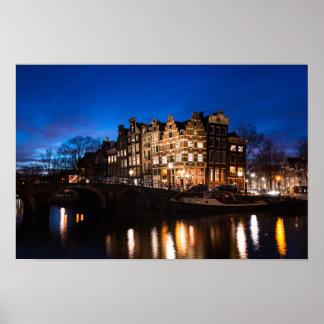 Poster Maisons de canal d'Amsterdam la nuit
