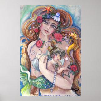Poster Maman et bébé de sirène