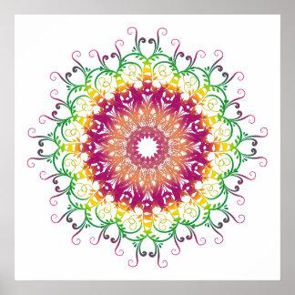 Poster mandala. multicolore floral ethnique
