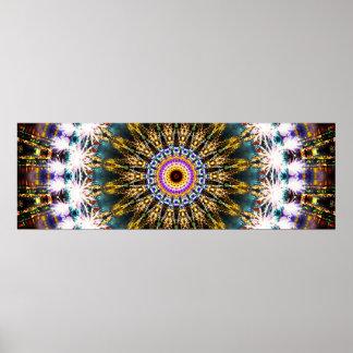 Poster Mandala panoramique coloré