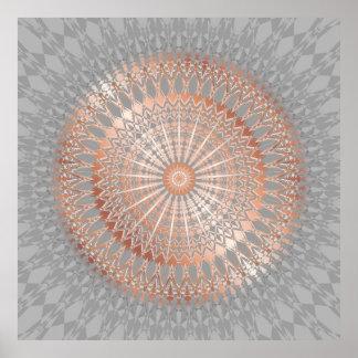 Poster Mandala rose de gris d'or
