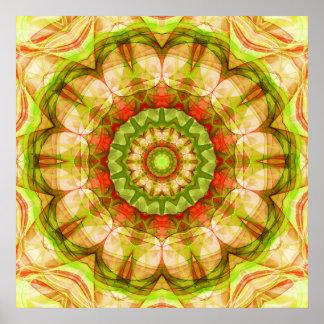 Poster Mandala rouge et vert de pommes (120)