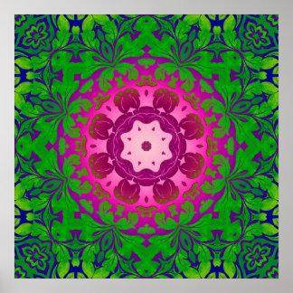 Poster Mandala vert de Fuschia de yoga chic de