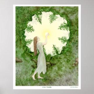 Poster Mandala vert - jeune fille de Sun