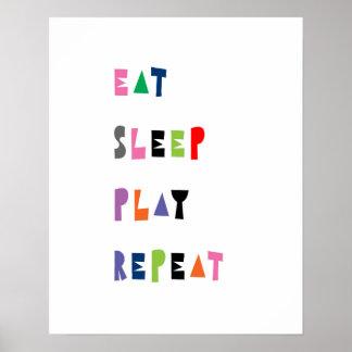 Poster Mangez, dormez, jouez, répétez, art de crèche