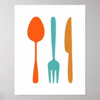 Poster Mangez - l'affiche dénommée moderne de cuisine de
