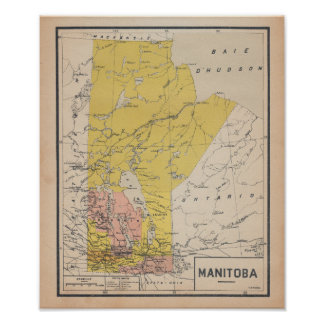 Poster Manitoba 1920 French Antique Map