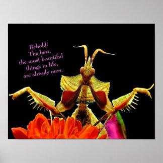Poster Mante de prière et fleurs lumineuses et belle