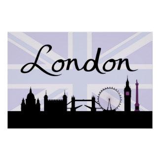 Poster Manuscrit de Londres sur le ciel d'Union Jack et