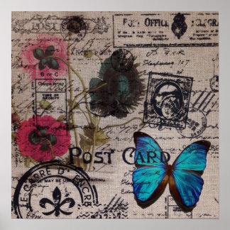 Poster manuscrits bleus de papillon de pays français de