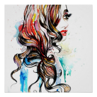 Poster Maquillage coloré de femme d'encre abstraite