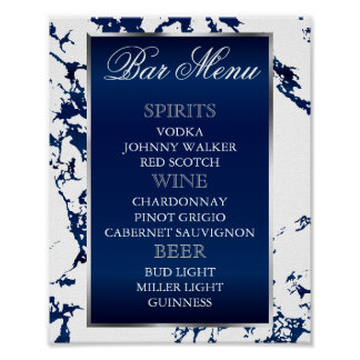 Poster Marbre de bleu marine, argent et blanc - menu de