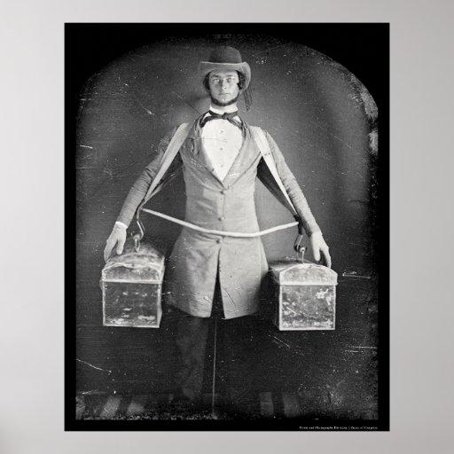 Poster Marchand ambulant avec le daguerréotype 1848 de sa