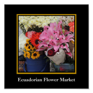 Poster Marché de fleur d'Ecuadorian dans la plaza