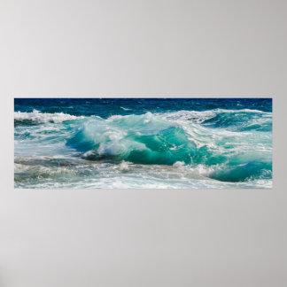 Poster Marée d'océan de plage de photographie de nature