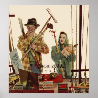 Poster Mari vintage et épouse avec des outils de