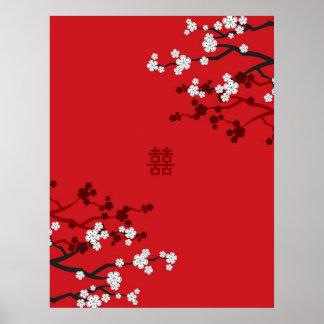 Poster Mariage chinois de double bonheur de fleurs de