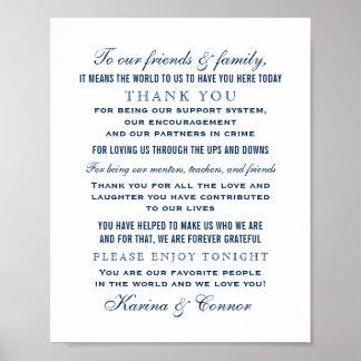 Poster Mariage de bleu marine du signe | de message de