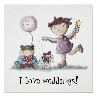 Poster Mariage de petit gâteau de marguerite