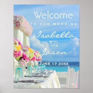 Poster Mariage d'été de plage d'océan du signe bienvenu |