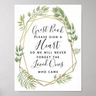 Poster mariage en cristal de livre d'invité de coeur de