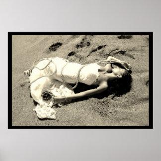 poster mariage mer sable plage noir blanc mariée posters