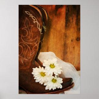 Poster Mariage occidental de marguerites blanches et de