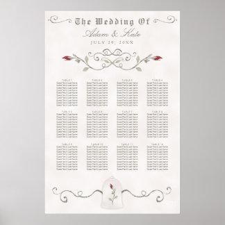 Poster Mariage pipe% élégant de rose rouge du DIAGRAMME