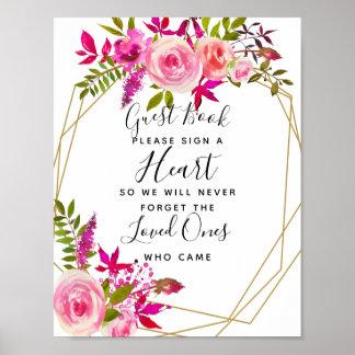 Poster mariage rose en cristal de livre d'invité de coeur