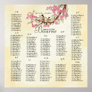 Poster Mariage vintage d'inséparable de fleurs de