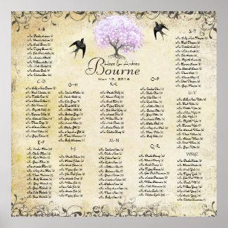 Poster Mariage vintage d'oiseau d'arbre de lavande de