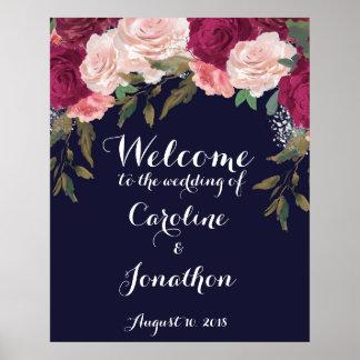 Poster Marine épousant le signe bienvenu Bourgogne floral