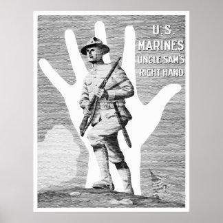 Poster Marines des USA -- La main droite de l'Oncle Sam