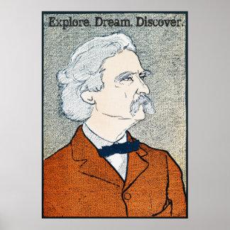 Poster Mark Twain vintage - l'explorez. Rêve. Découvrez