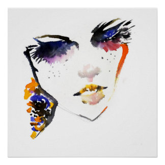 Poster Marquage à chaud coloré de maquillage de femme