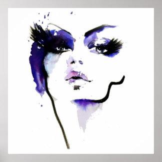 Poster Marquage à chaud pourpre de maquillage de femme