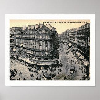Poster Marseille, France Rue de la Republique, cru