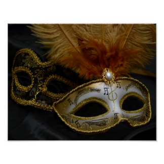 Poster Mascarade vénitienne de masque de carnaval d'or