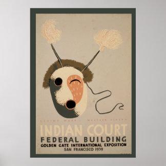 Poster Masque esquimau de bâtiment fédéral indien de cour
