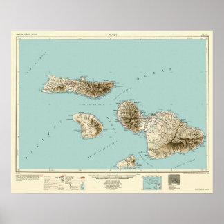 Poster Maui, Hawaï--Carte du cru 1954