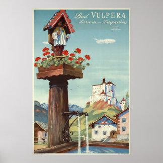 Poster Mauvais Vulpera, Tarasp, Suisse, affiche de voyage