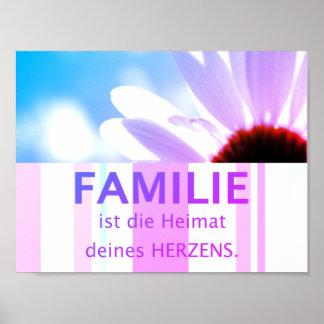 Poster maximes famille allemandes - fleur ciel motif